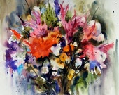 FLORAL BOUQUET Watercolor Print by Dean Crouser