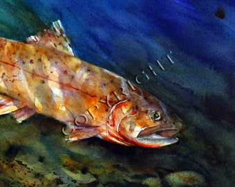 CUTTHROAT TROUT Fish Print from Original Watercolor by Dean Crouser