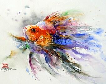 GOLDFISH Watercolor Print, Fish Art by Dean Crouser