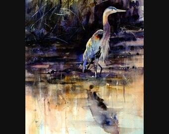 HERON Watercolor Print, Heron Painting, Bird Art by Dean Crouser