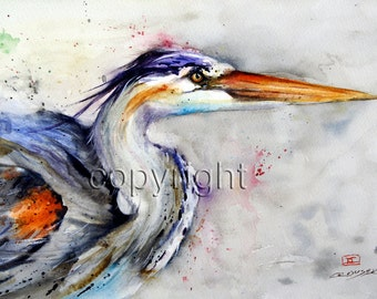 HERON Watercolor Print, Bird Art Painting by Dean Crouser