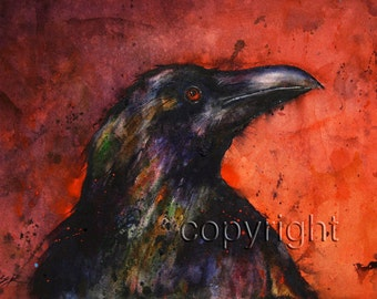 RAVEN Watercolor Print by Dean Crouser