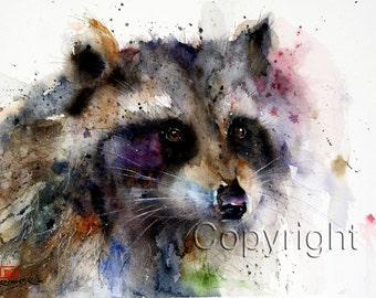 RACCOON Watercolor Print, Raccoon Art, Raccoon Painting,  by Dean Crouser