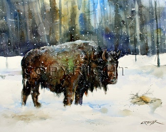 WINTER BISON Buffalo Watercolor Print by Dean Crouser