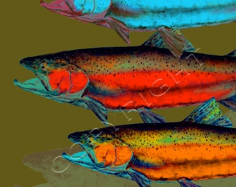 SALMON and TROUT Fish Print by Dean Crouser