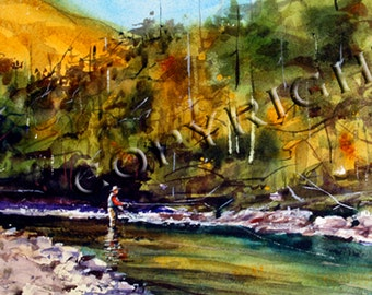 FLYFISHING Watercolor Print by Dean Crouser