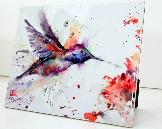 HUMMINGBIRD and FLOWER 8 x 10 Ceramic Tile by Dean Crouser