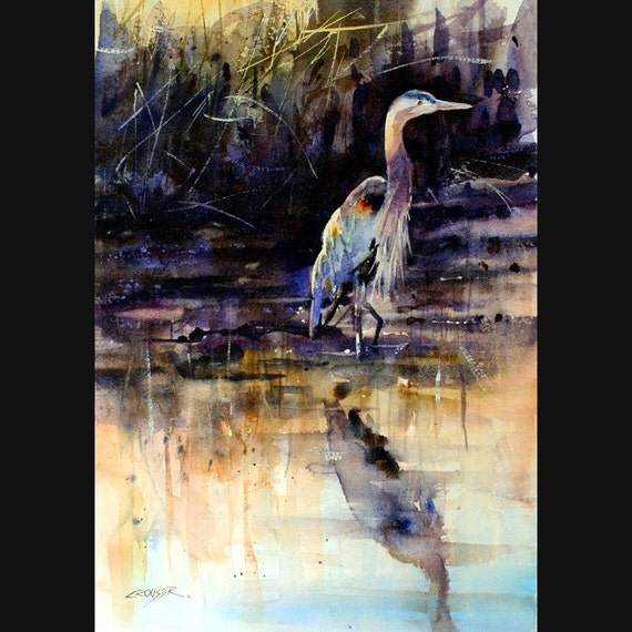 HERON  Watercolor Print By Dean Crouser