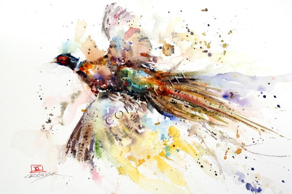 PHEASANT Abstract Watercolor Print by Dean Crouser