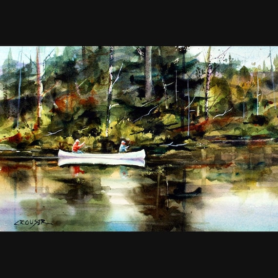 CANOE on River Watercolor Print by Dean Crouser