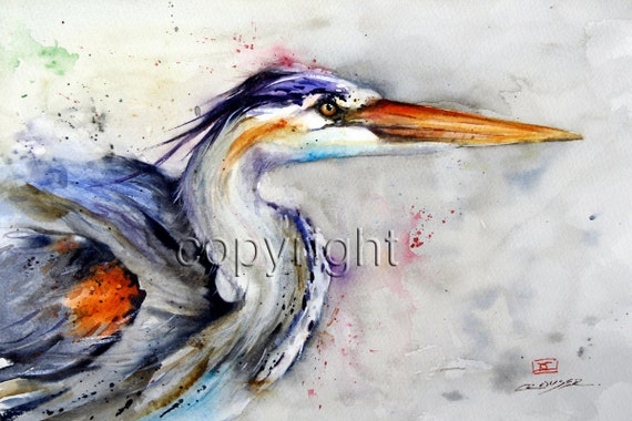 HERON Colorful Watercolor Print by Dean Crouser
