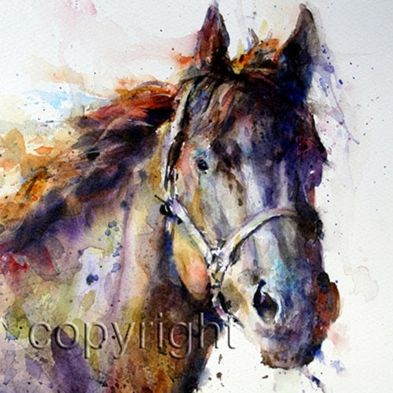 horse watercolor animals horses crouser dean canvas abstract colorful prints animal farm etsy icanvas paintings painting tile paint wildlife pretty
