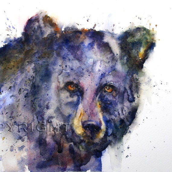 BLACK BEAR Face Watercolor by Dean Crouser