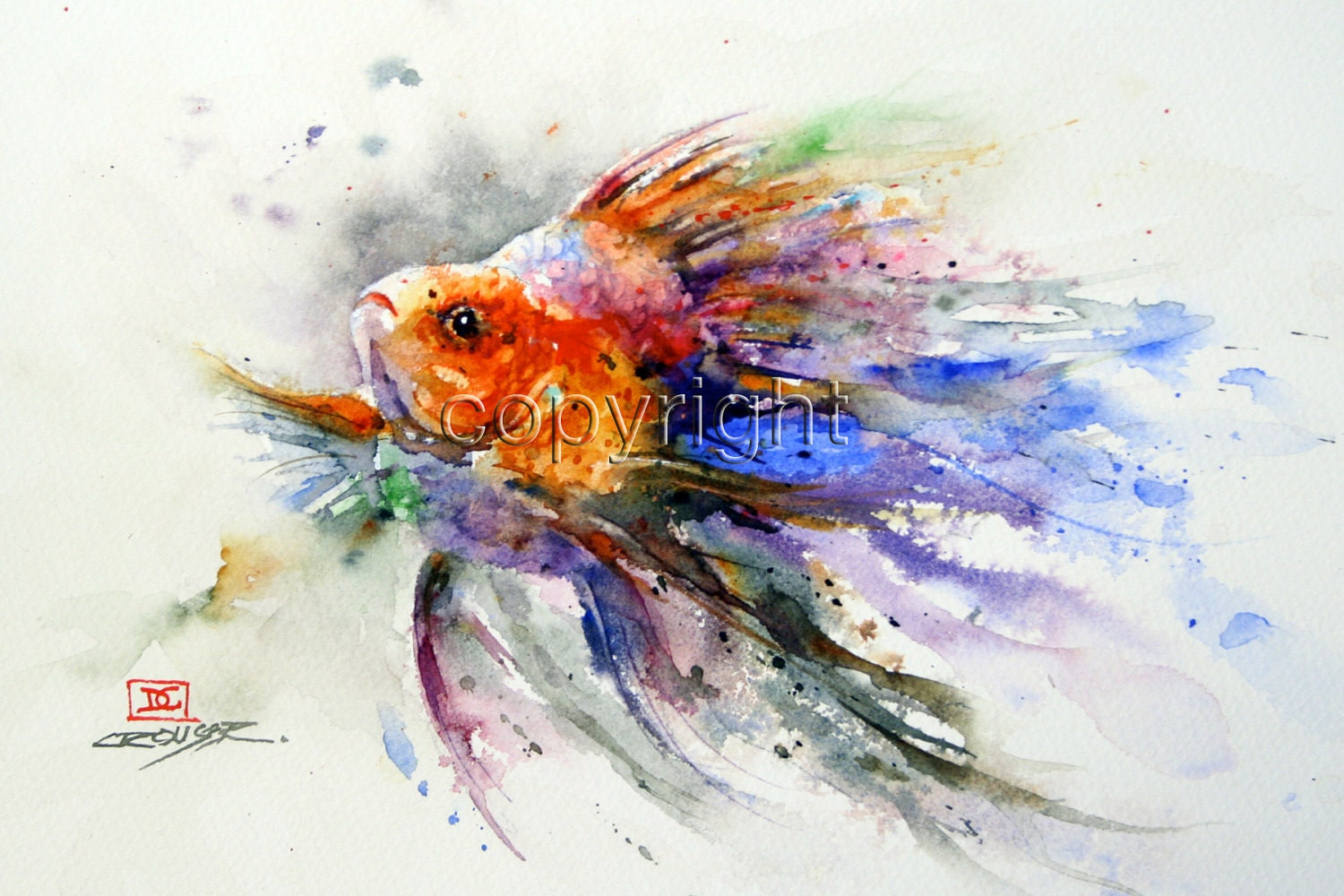 Goldfish watercolor print fish art by dean crouser for Fish out of water watercolor