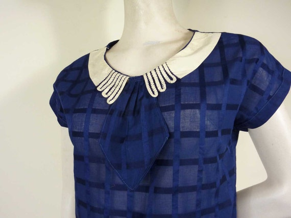 RESERVED - 1930s Blue Cotton Blouse with Bow and Cute White Collar S