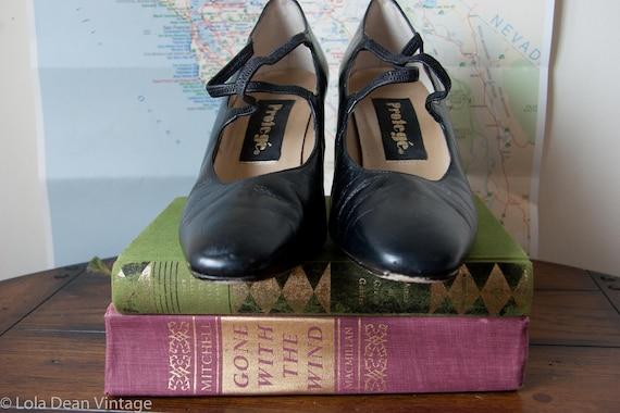 20's Style Black Heels - Protege - Size 8