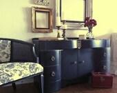 Greta - gorgeous art deco 1930s vanity dresser black distressed