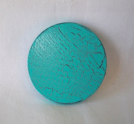 Turquoise Crackle wooden purse mirror