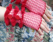 Fingerless Crochet Gloves, pink net w/ red ruffles & buttons, size med
