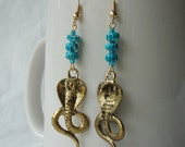 Reserved for LilJammers - Snake Charmer Earrings, gold-plate cobra charms & aqua coconut heishi beads