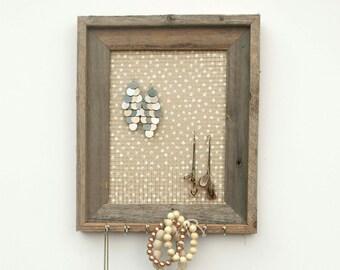 Dirty Blonde Polka Dot Barnwood Jewelry Holder - Tan and White 8 x 10