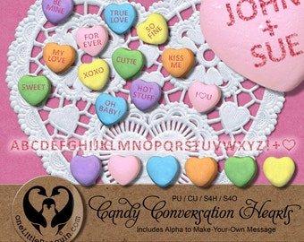 Valentine Candy Conversation Hearts w/Alpha to Make Your Own, Digital, PU CU S4H S4O