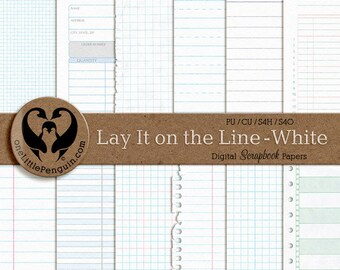 Lay It on the Line - White, Digital Ledger, Graph, & Note Papers, PU CU S4H S4O