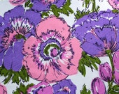LAST ONE - vintage fabric remnant - big pink & purple blooms