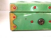 Vintage Green Home Budget Metal Bank Box