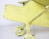 Hold for Mooncakecottage- Vintage Airplane- Chippy Yellow Metal Display Airplane