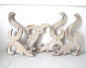 Antique Architectural Salvage Pieces-Set of 4 Chippy Gray-White Swirly Wooden Pieces