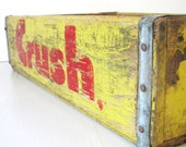 Vintage Crush Soda Crate- Yellow and Red Wooden Industrial Crate/ Box/ Kitchen