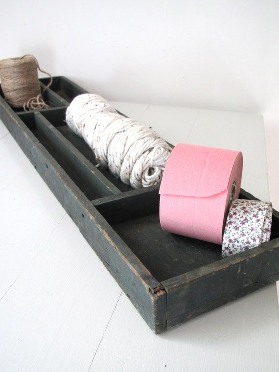 Vintage Wooden Storage Box- Hunter Green Divider Coffee Table Box