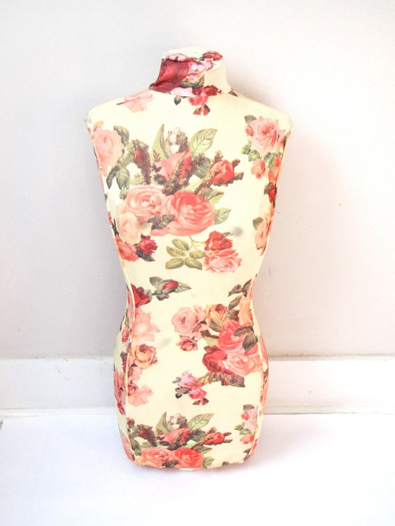 MOVING SALE CLEARANCE--Vintage Dress Form- Unique Sweet Yellow, Pink Roses Mannequin Form