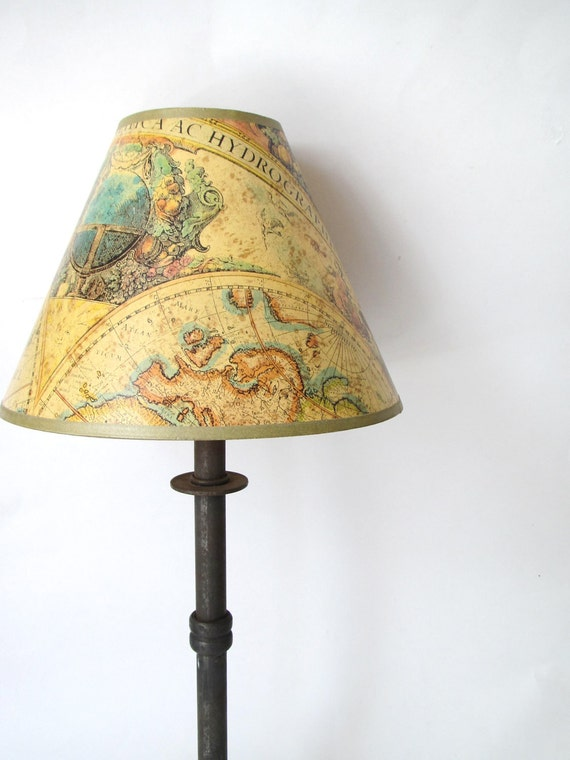 Vintage Lamp- Cast Iron Lamp with Map Shade