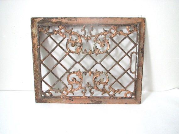 Antique Bronze Metal Ornate Floor Grate Cover- Repurpose Salvage Wall Hanging