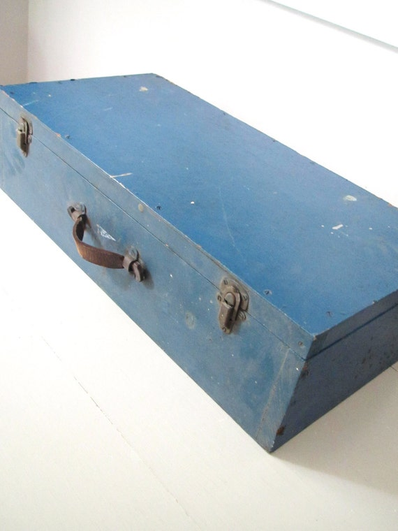 Vintage Box with Lid- Blue Wooden Box with Lid and Latches and Leather Handle- Trunk- Suitcase- Photo Prop