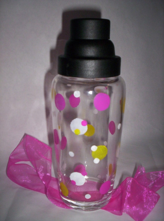 Pink Polka Dot  Cocktail Martini Shaker Girls Night In Hand Painted New