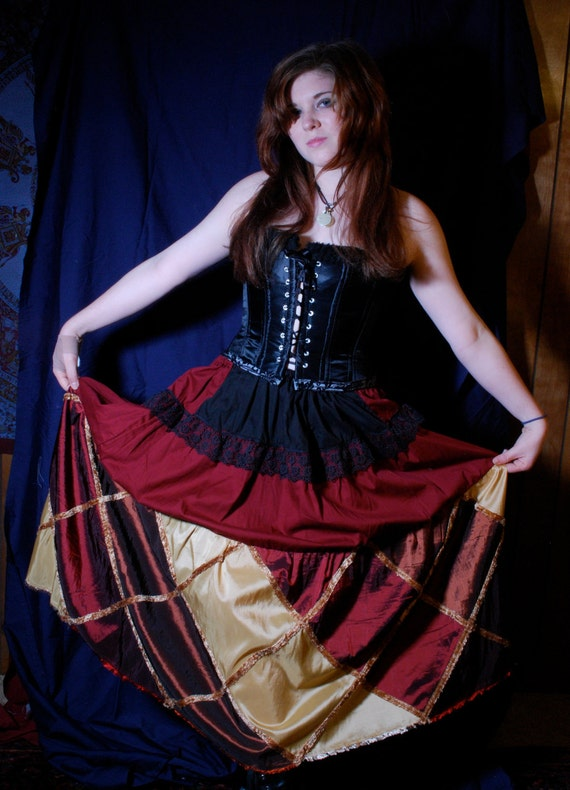 Red and Black Steampunk Skirt