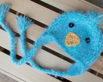 Sweet & Soft Blue Bird Crochet Beanie with Braids