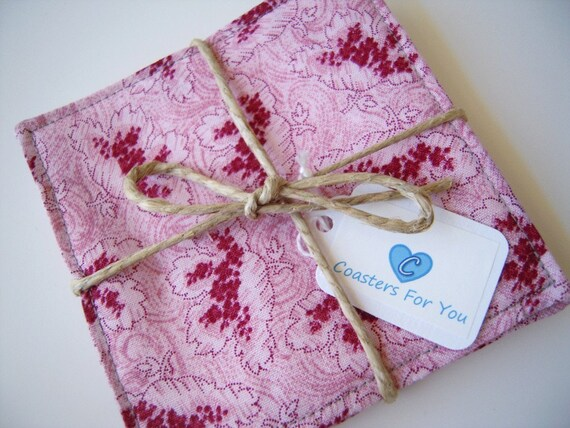 Set of Pink Flower Coasters