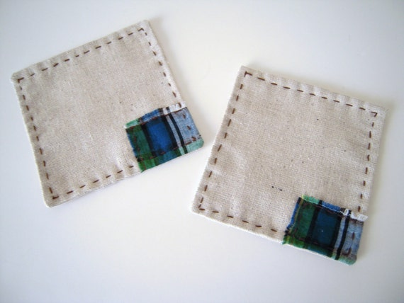 Set of Simple Linen Coaster/Plaid And Brown Stitch