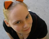 Orange And Black Fuzzy Clip In Kitty Ears
