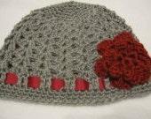 Grey & Crimson Hat with Flower