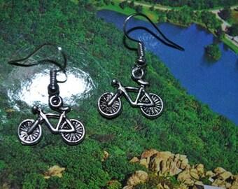 Bicycle Bike Earrings in Silver