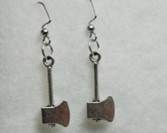 Axe Tools Earrings in Silver