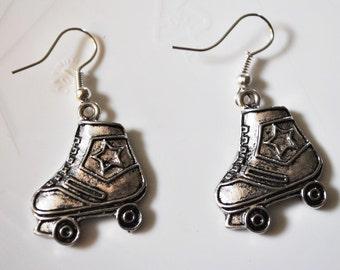 Chunky Roller Skates Earrings in Silver  Retro 80s