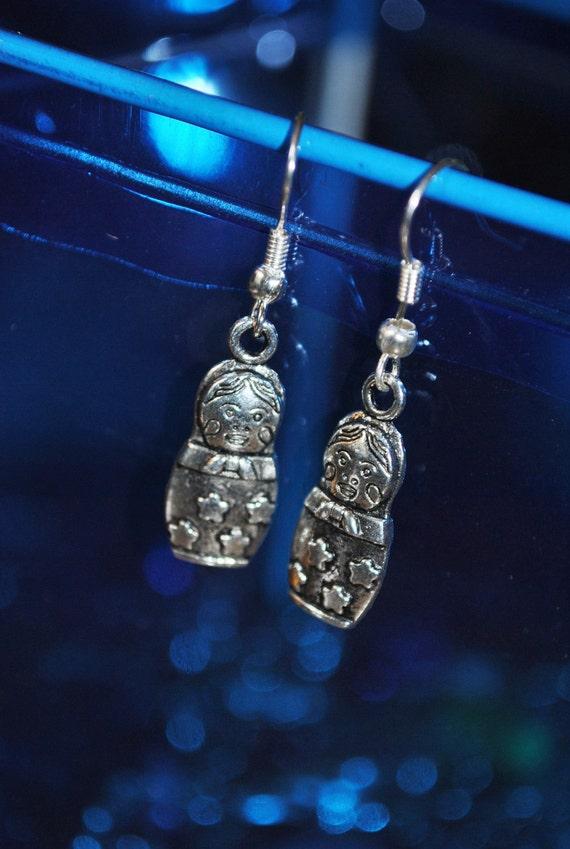 Matryoshka Russian Babushka Doll Earrings in Silver