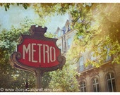 Paris Metro - metropolitain sign photograph, with chestnut trees in bloom, Springtime in Paris 9x12, 18x24 Original Fine Art Photograph