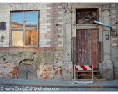 Old Doors - Riga, Latvia - abandoned building, boarded-up, condemned, graffiti, brick - 9x12 Original Fine Art Photograph